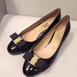 Luxury Chains Australia - Size Women Dress Shoes Pumps Round Toe Pumps 3.5cm Mid Heels Pump Leather Ladies Shoes Fashion Zapatos Mujer Vara Bow Pump Shoe Luxury