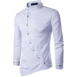 Wholesale oblique button shirt resale online – Yfashion Men Fashion Simple Shirts Muslim Style Oblique Button Irregular Hem Mens Shirt Elegant Men Tops