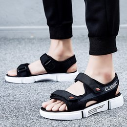 korean flat slippers Australia - Beach Male Trend Korean Sandals Version Of The Personality Men's Outdoor Slippers Summer Wear A Word Drag Shoes