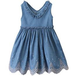 Girls Denim Vest Clothing Australia - Girls Denim Dress V Neck Baby Girl Clothe Blue Jeans Vest Girls Summer Dresses 19042701