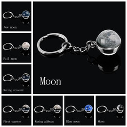 image alloys NZ - Moon Phase Image Planet Keychain Keyring Double Side Glass Ball Universe Nebula Key Chain Solar System Jewelry Christmas Gifts