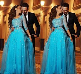 Wholesale 2019 Blue Lace Arabic Evening Dresses Half Sleeves A line Tulle Long Formal Holiday Wear Prom Party Gown Custom Made Plus Size