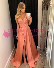 $enCountryForm.capitalKeyWord Australia - 2019 Modern Off The Shoulder Prom Dresses Sexy Side Split Pleats Elastic Silk Like Satin Formal Evening Occasion Party Dresses Custom Made