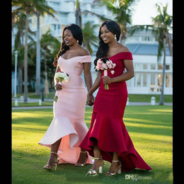 Discount lace asymmetrical bridesmaid dresses - 2019 Cheap Mermaid Bridesmaid Dresses African Off Shouder Long Vintage Wedding Guest Gowns Lace Arabic Maid Of Honor Dre