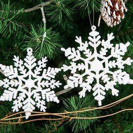Christmas Ornament For Tree Australia - Snowflake Glitter Christmas Ornament White Plastic Christmas Snowflake Tree Frozen Window Decorations For Home