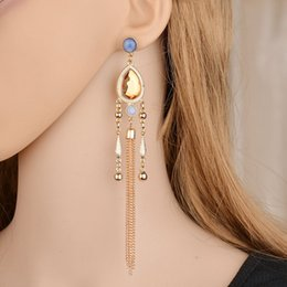 $enCountryForm.capitalKeyWord Australia - 2019 Retro Exaggerated Long Section Fringed Line Nightclub Aristocratic Semi-Precious Stones Earrings For Women E1474