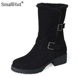 Elegant Heel Snow Boots Australia - Buckle Mid Heel Snow Boots Winter Women Fashion Low Square Heels Shoes D080 Elegant Ladies Warm Black Beige Brown Ankle Boots