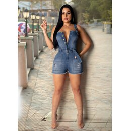 denim jumpsuits sale NZ - Women Summer Sexy Jumpsuits Brand Womens V Neck Shorts Jumpsuits with Button and Sashes Women Sexy Strapless Halter Hole Jumpsuit Hot Sale