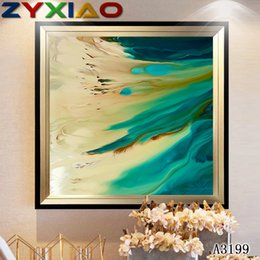 Color Diy Painting Australia - Rhinestone full round&square diamond embroidery abstract sea color 5D diy diamond painting cross stitch kit home mosaic decor gift A3199