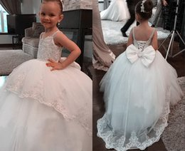 $enCountryForm.capitalKeyWord Australia - Cute 2019 Flower Girls Dresses For Wedding Evening With Straps Beading Crystal Lace Ball Gown Tulle Applique Long First Communion Dress
