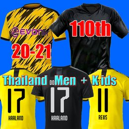 Wholesale HAALAND 19 20 21 Borussia dortmund soccer jersey 2019 2020 2021 football shirts 110th SANCHO REUS BRANDT men + kids kit maillot DE FOOT