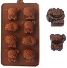 Wholesale Silicone Mold Animals Lion Bear Chocolate Silicone Baking Mold Cake Muffin Decor Form for Soap for DIY Cake decoration KKA7941