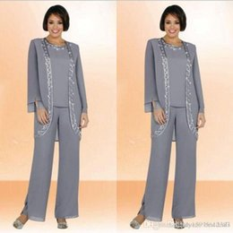 Long Chiffon Suit Australia - Modest 2019 New Chiffon Jewel Long Mother Of The Bride Pant Suits With Long Sleeve Jacket Cheap Embroidery Formal Suits Custom Made 309