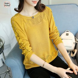 Fashion ladys tops online shopping - Fashion Spring Autumn Sweaters Pullovers Long Sleeve Slim Ladys Knitted Lace Style White Hollow Out Top Pullovers Womens