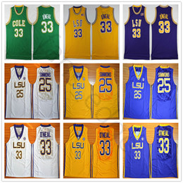 ea0e01d1f182 NCAA LSU Tigers College Ben Simmons Jersey Shaquille O Neal University  Stitched Basketball Jerseys Cole High School Green Shaq ONeal