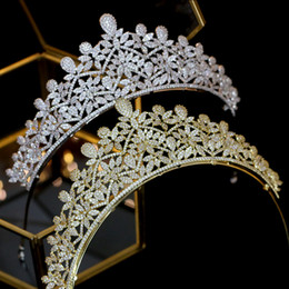 $enCountryForm.capitalKeyWord Australia - Shiny flower high quality wedding zircon stone silver   gold crown wedding jewelry for royal wedding jewelry