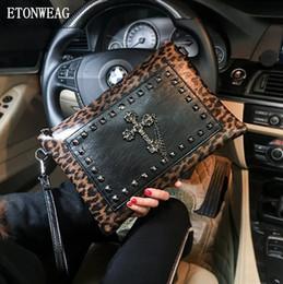 Christmas Hand Bag Australia - men handbag Leopard punk hand bag street cool rivet wrist bag fashion Leopard leather envelope multifunctional leather shoulder bag