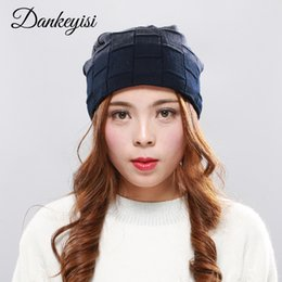 $enCountryForm.capitalKeyWord NZ - DANKEYISI Winter Hat Knit Plaid Cap Women Caps Warm Skullies Beanie Bonnet Hat Wool Knitting Lady Fashion Bobble Ski Caps
