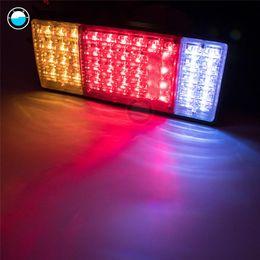 Wholesale Trailer Lights Australia - 2pcs 12V 24V 44 LED Car Rear Lamps Truck Boat Trailer Plastic Taillight Waterproof Car Truck Tail Light Warning Lights.