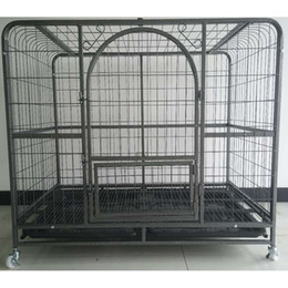 $enCountryForm.capitalKeyWord Australia - 43 inch Labrador Dogs Cats Carrier Pet Supplies Three Doors Strong Wire Tube Crate Dog Cat Cage Suitcase Kennel Playpen With Tray