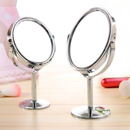 Mirrored Side Tables Wholesale Australia - Small Makeup mirror desktop round oval table mirror simple ladies household metal Rotating double-sided vanity mirror