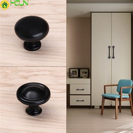 Handles For Kitchen Drawers Australia - Black Simple Zinc Alloy Cupboard Pull Single Hole Drawer Kitchen Round Knobs For Furniture Hardware Cabinet Wardrobe Door Handle