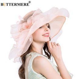 $enCountryForm.capitalKeyWord Australia - wholesale Pink Sun Hats For Women Organza Kentucky Derby Church Hats Ladies Floral Elegant Gentleman Wedding UV Sun Caps Summer