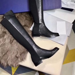 fashion knee high long boots NZ - Fashion Designer Stretch Sheepskin Over Knee Thigh High Boots Low Heel Cowskin Comfy Soft Luxury Long Boots Flat Heel Size 35-40