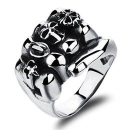 Middle Eastern Cluster Rings Australia - Fashion Stainless Steel Man Party Ring Personality Skeleton Design Metal Men's Friendship Punk Jewelry Gift