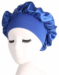 black hair blue 2019 - Women Wide Band Satin Silk Bonnet Cap Solid Color Comfortable Night Sleep Cap Soft Silk Long Hair Care Bonnet Headwrap S