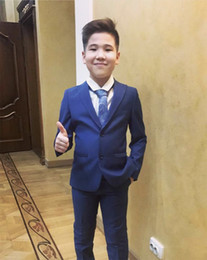 Prom Boys Jacket Australia - Blue Boys Tuxedos 2019 Custom Made One Button Notch Lapel Children Suit Wedding Tuxedos Prom Suits (Jacket+Pants+Tie)