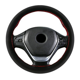 black fur steering wheel cover Australia - Fur Car Steering Wheel Cover DIY Leather Car Accessories Pink Suede Steering Wheel Breathable Sweat-absorbing Non-slip 9 Colors