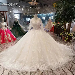$enCountryForm.capitalKeyWord Australia - LSS438 ball gown wedding dresses champagne o-neck long tulle sleeves luxury wedding gowns with long train muslim bridal dress
