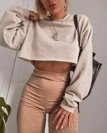 Wholesale long sleeve cropped tee for sale – custom Autumn Women s Long Sleeve Top Round Neck Cotton Solid Color Pullover Ladies Crop Top Sweatshirt Tee Tops