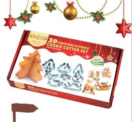 Sugar Cookies Cutter Australia - 3D DIY stainless steel cookie mould Double sugar cake pan Christmas theme metal cake cutters mould 8 pcs set