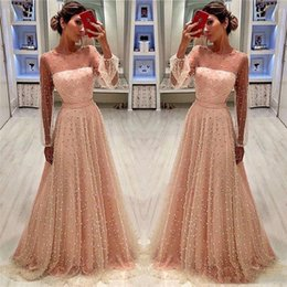 Ivory Pink Mother Dress Australia - Modest See-Through Long Sleeves Peach Pink A Line Evening Dresses Formal Pearls Beaded Mother of Bride Groom Dress Prom Dress