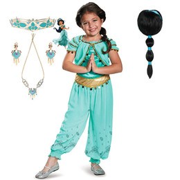 $enCountryForm.capitalKeyWord Australia - Fancy Cosplay Jumpsuit Girls Halloween Princess Party Dress up Clothing Set Kids Anime Costume Jasmine Top Pants