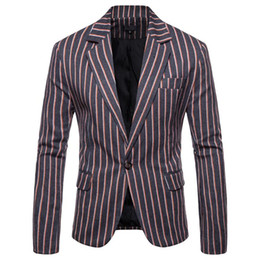 navy stripes UK - Casual Stripe Wedding suits for Men Blazer designs Slim Fit Banquet Mens Blazers And Suit Jackets Navy Blue Gray