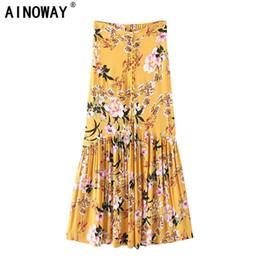45f767d382 2018 Summer Fashion Harajuku Women Hippie Beach Bohemian Floral Print Skirt  High Elastic Waist Maxi A-line Boho Skirt Femme Y1904002