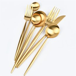 Dinnerware Gold Flatware Gold Cutlery Matte Polish Stainless Steel 304 Knife Fork Spoon Wedding Tableware Silverware on Sale