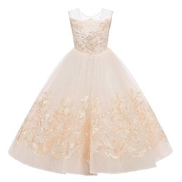 Chinese  2019 Backless Lace Ball Gown Flower Girls Dresses Champagne Applique Floor Length Kids Pageant Gowns Little Girl Birthday Party Dresses manufacturers