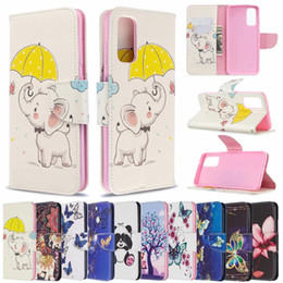 iphone case elephants Australia - Cartoon Leather Wallet Case For Samsung Note 20 10 Plus A21S A10e Iphone 12 11 Pro Max Elephant Butterfly Flower Panda Unicorn Flip Cover