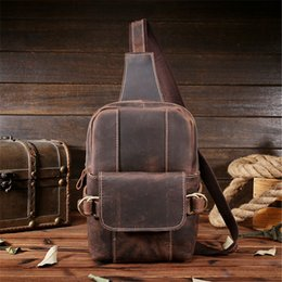 Discount genuine leather chest bags - Men Crazy Horse Leather Chest Bag Vintage Cowhide Genuine Leather Fanny Chest Pack Handmade Male Messenger Shoulder Bag