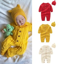 Wholesale round neck romper for sale – dress Baby Kids Designer Clothes Infant Round Collar Jumpsuit Knitted Long Sleeve Button Cardigan Romper Hat Set Newborn Clothing romper M427