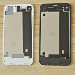 4s Housing Australia - wholesale Back Glass Housing For iPhone 4 4S Rear Crystal Panel Plate Battery Door Back Case Chassis Frame Free Gift 8 and 1