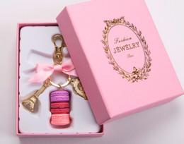 $enCountryForm.capitalKeyWord NZ - Effiel Tower Macarons Ribbon Keychains Woman Luxury Macarons Cake Keychain on Bag Charm Handbag Charms Car Keychain Gift Box
