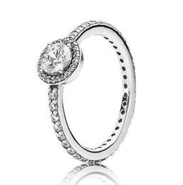 sterling pave ring Australia - Original 925 Sterling Silver Ring Pave Classic Elegance With Crystal Rings For Women Wedding Party Gift Fashion Jewelry