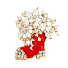 Red Leather Dresses Australia - Western Christmas flower boots with diamond drop oil brooch pin suit evening dress sweater decoration