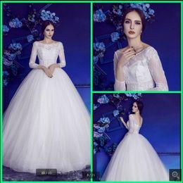 $enCountryForm.capitalKeyWord Australia - Robe de Mariage 2019 white lace ball gown wedding dresses long sleeve princess puffy corset sexy sheer back wedding gowns hot sale 2019