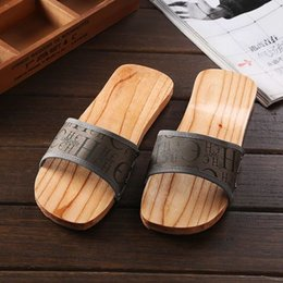Wholesale Hot sale Ha meng summer cool slippers foot massage non slip couple home wooden slippers female wooden bottom slippers cool wood